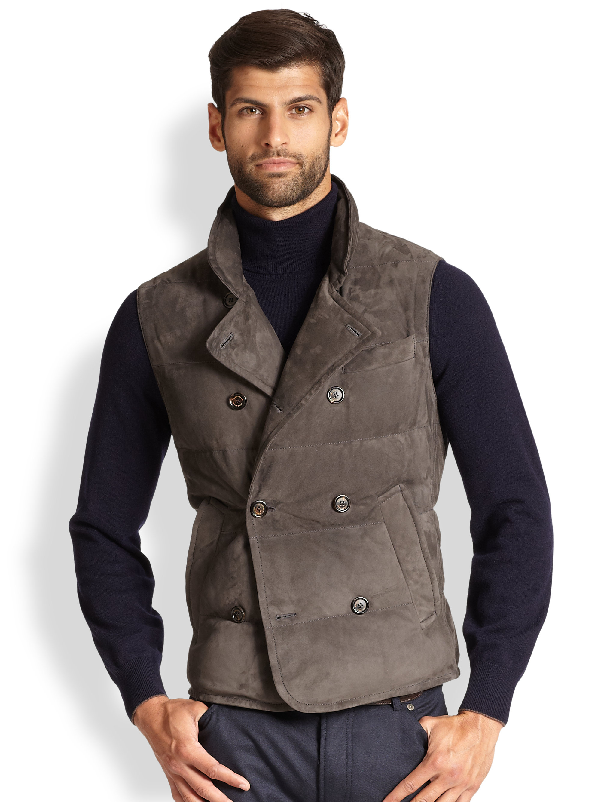 Lyst Brunello Cucinelli Double Breasted Suede Vest In
