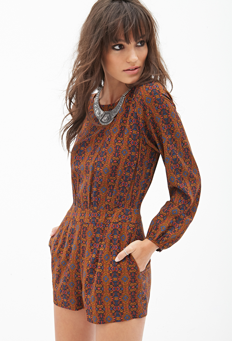 Lyst Forever 21 Abstract Printed Romper In Brown