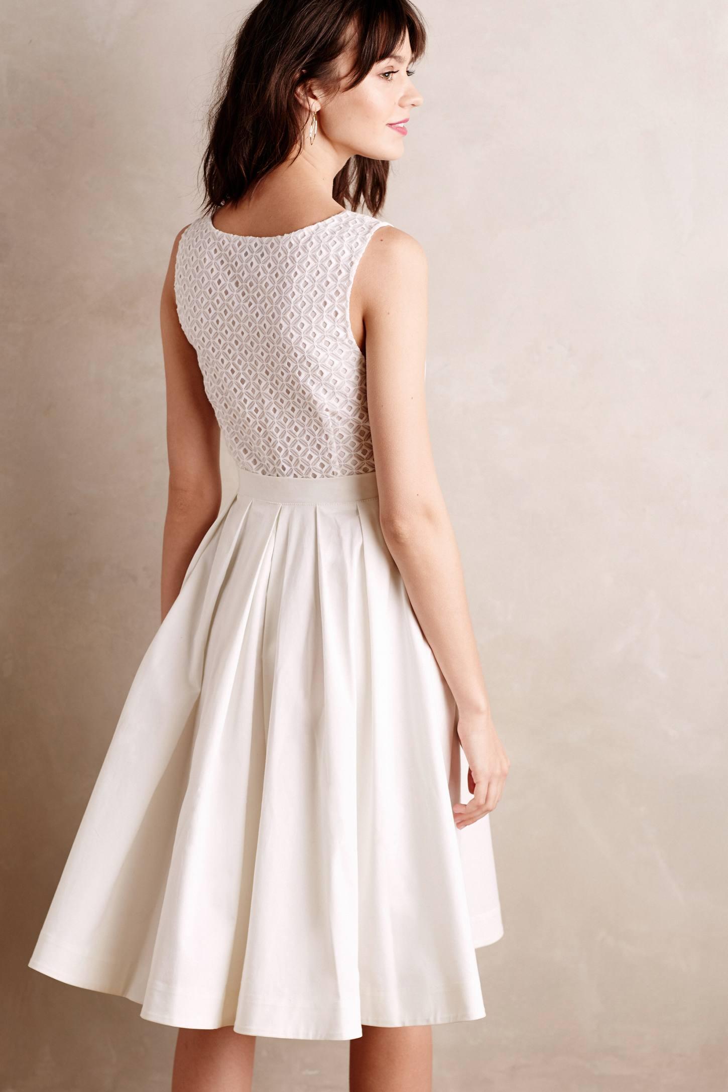 Collette dinnigan Pleated Trellis Dress in White | Lyst