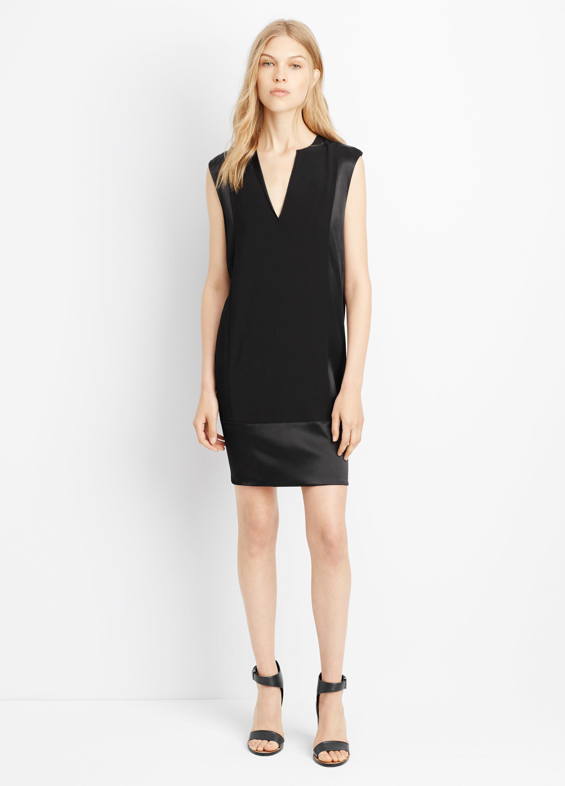 Lyst Vince V Neck Satin Shift Dress In Black