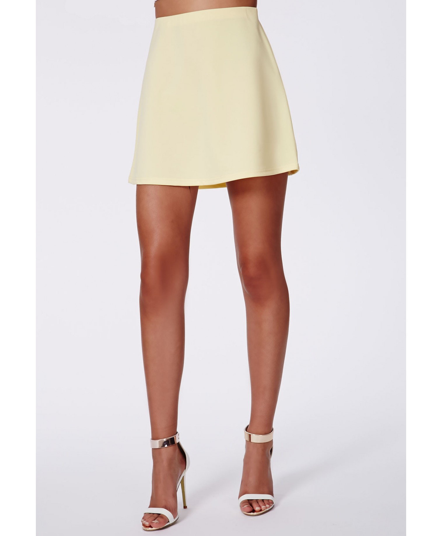 missguided lubiana scuba a line skirt yellow in yellow lyst