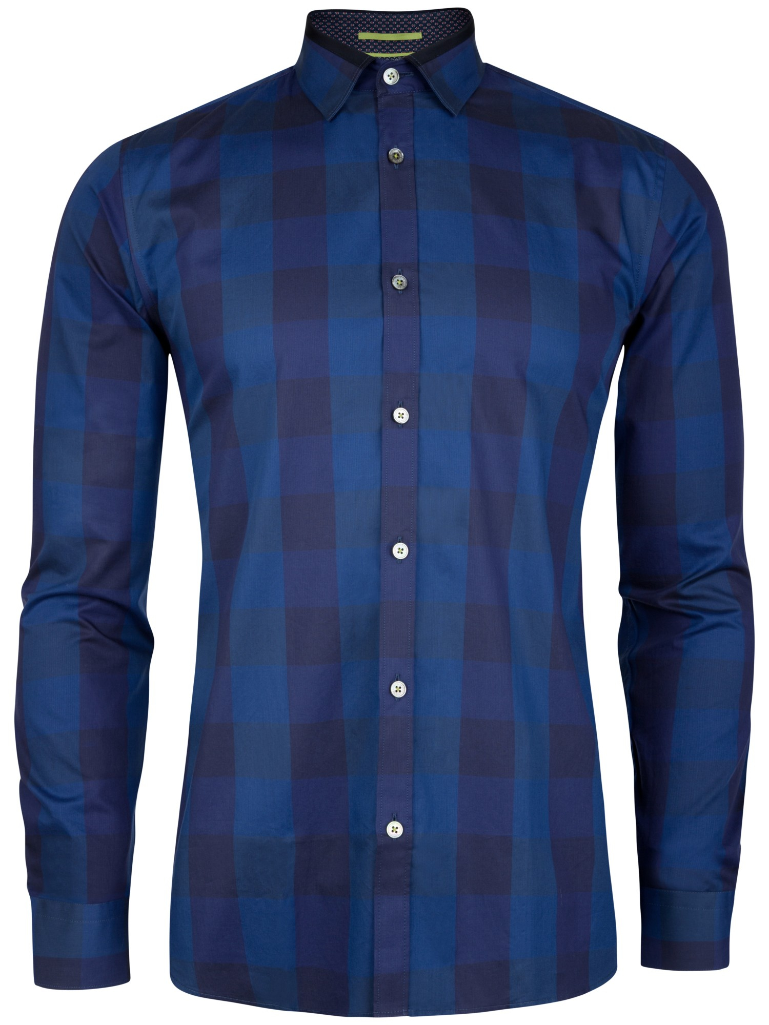 Ted baker lostone check shirt in blue for men lyst for Ted baker blue shirt