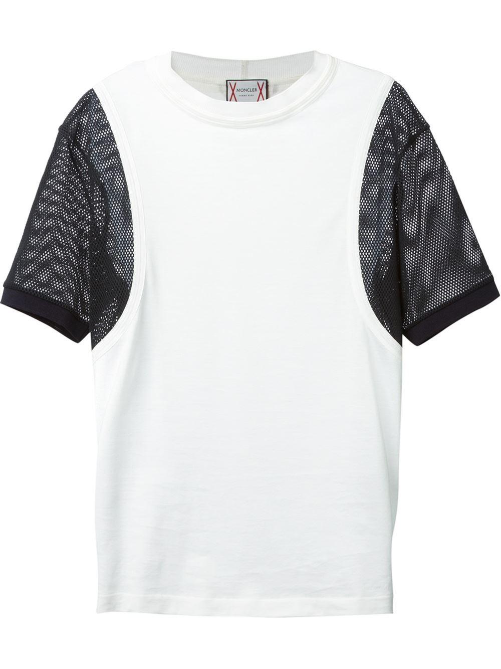 moncler gamme bleu mesh sleeve t-shirt in white for men