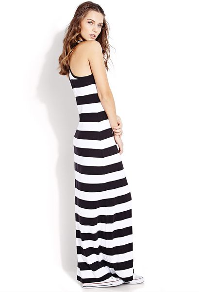 forever 21 out to sea striped maxi dress in black black