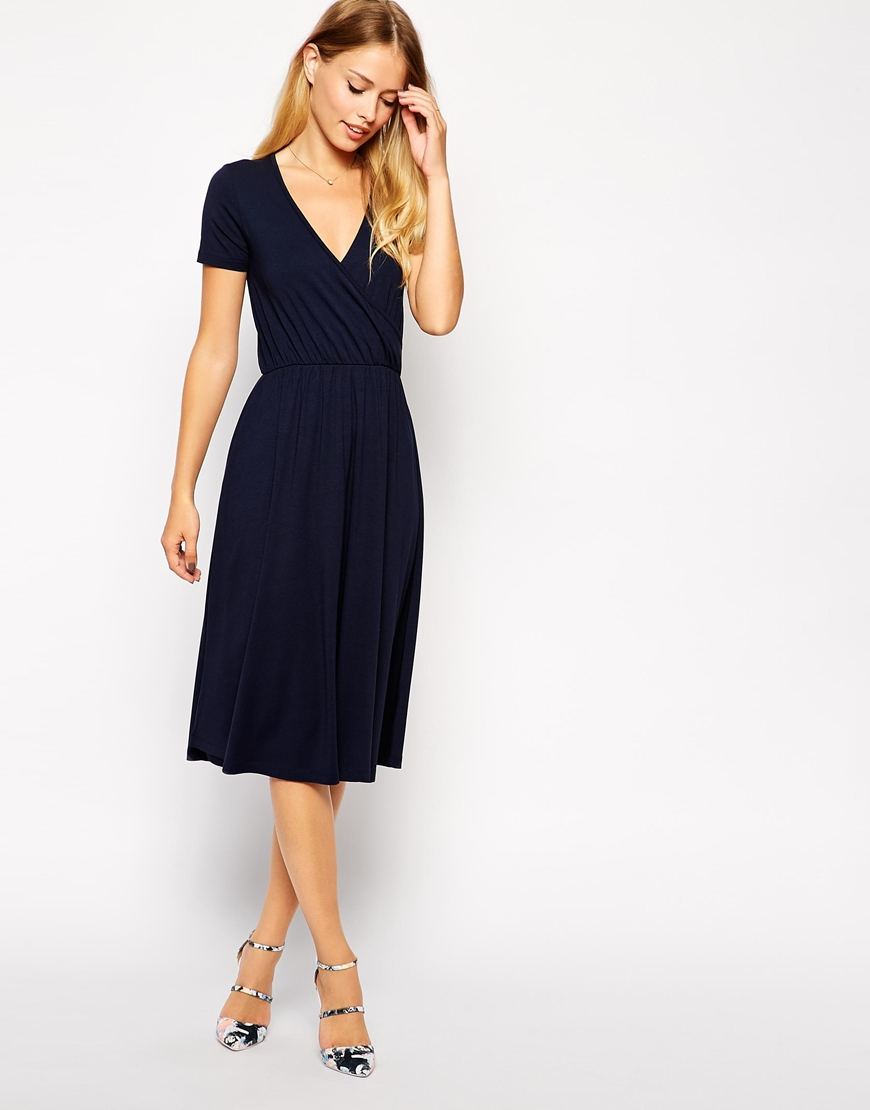 819d3cb84f47 ASOS Midi Skater Dress With Wrap Front And Short Sleeves in Black - Lyst