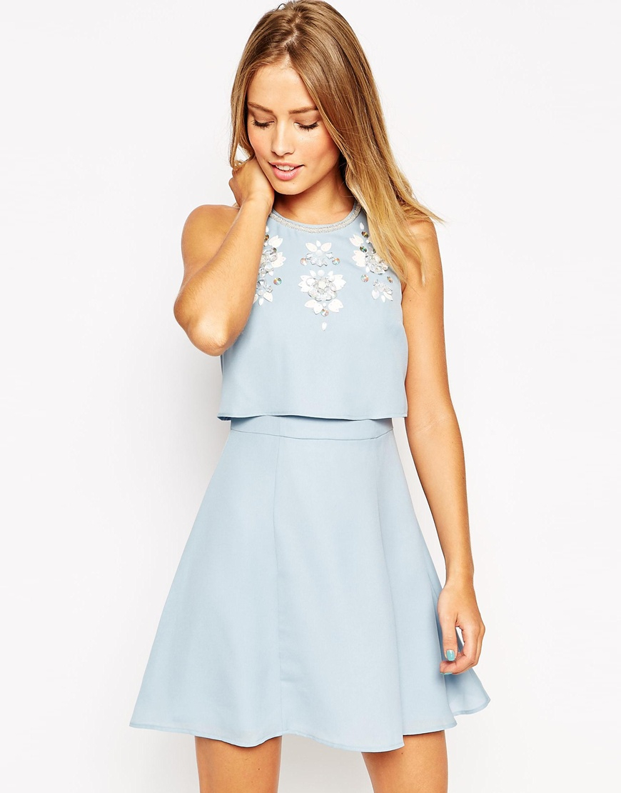 22c9366fa0b4 Lyst - ASOS Embellished Crop Top Skater Dress in Blue