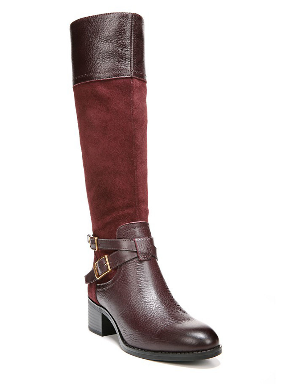 franco sarto lapis leather boots wide calf in brown