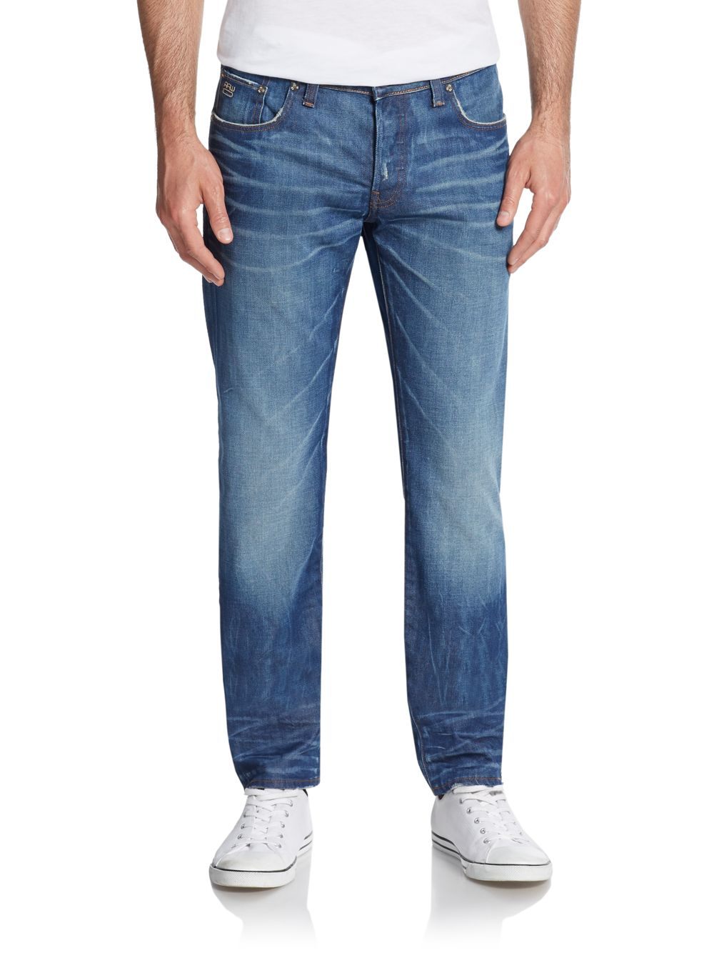 g star raw 3301 low tapered jeans in blue for men medium. Black Bedroom Furniture Sets. Home Design Ideas