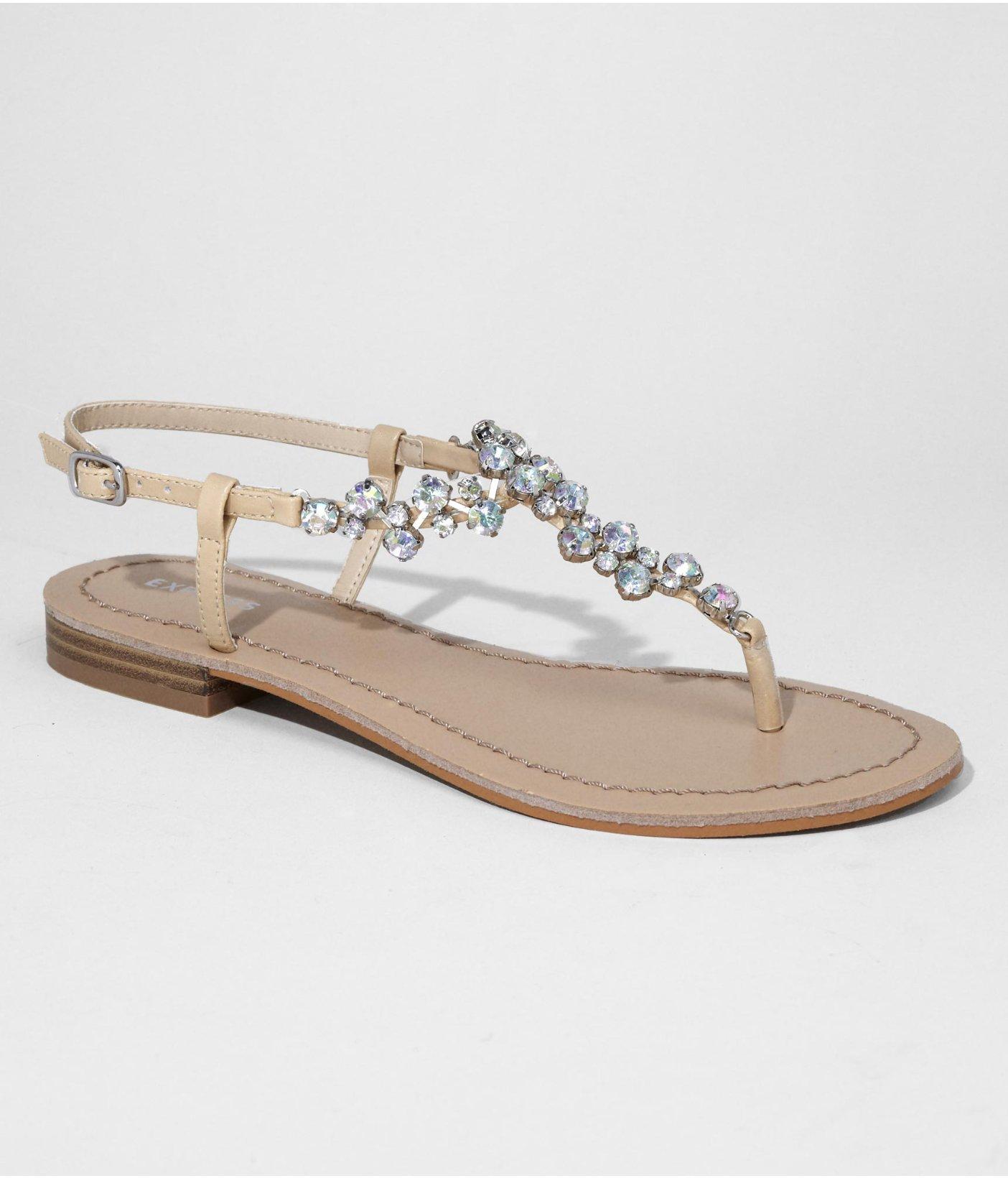 Express Rhinestone Tstrap Sandal In Brown Natural Lyst
