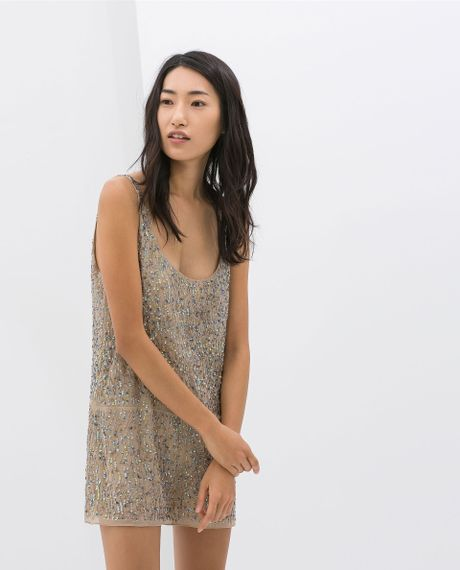 Zara Jumpsuit With Embroidered Sequins In Beige Nude  Lyst