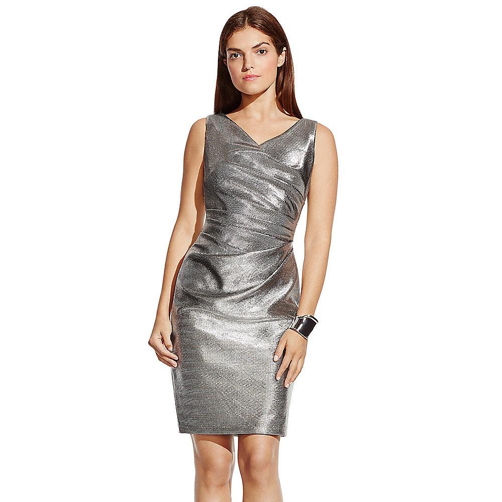 Vince camuto Cowlneck Metallic Cocktail Dress in Metallic  Lyst