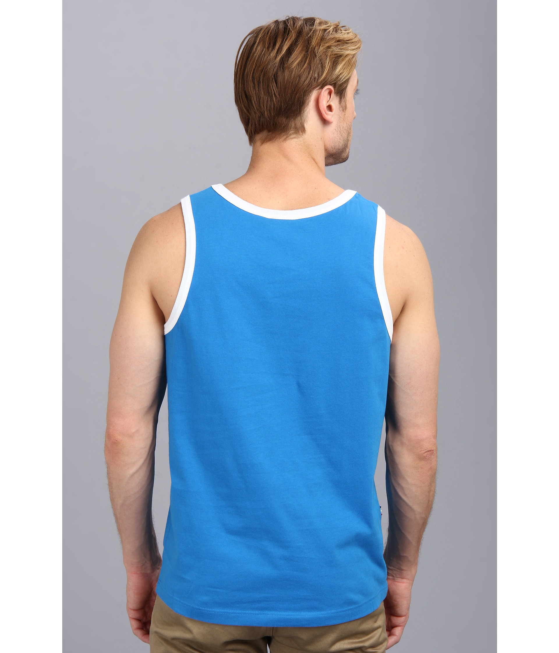 6480990c39ba3 Lyst - Lacoste Live Cotton Jersey with Contrast Trim Tank Top in Blue for  Men