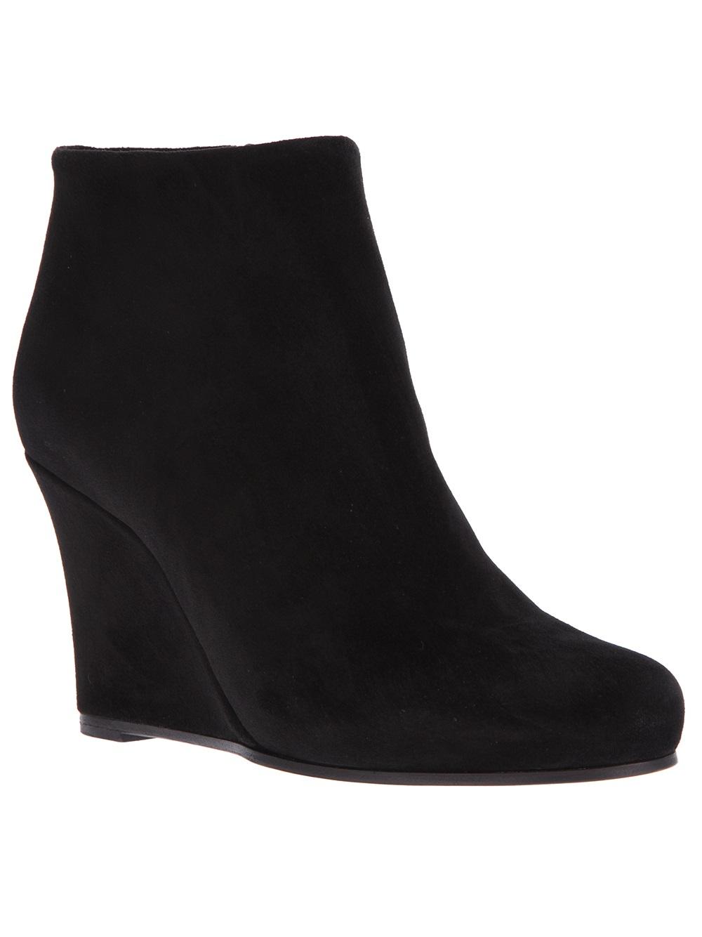 Jil sander Wedge Ankle Boot in Black | Lyst