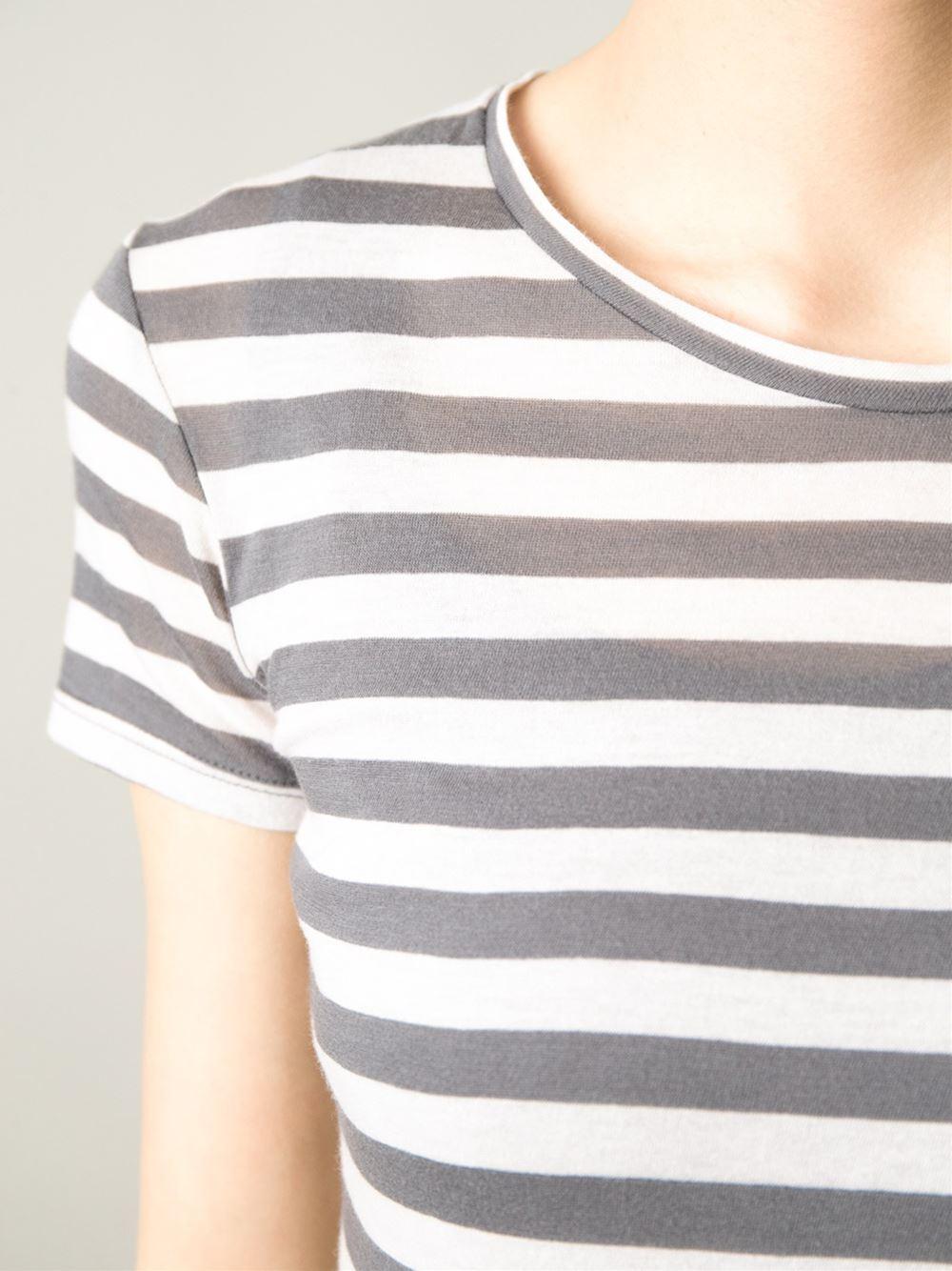 Enza costa striped t shirt dress in gray grey lyst Grey striped t shirt