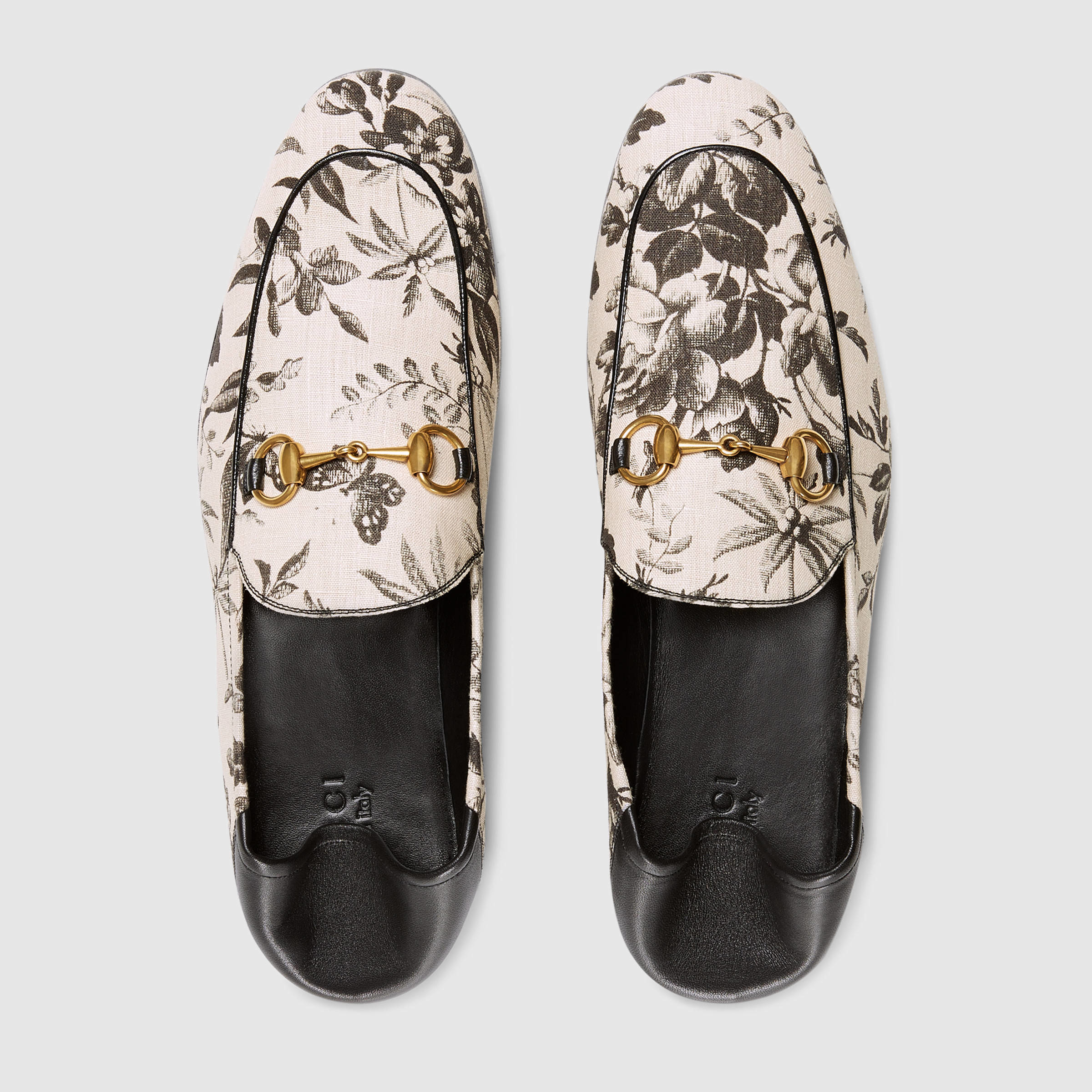 Gucci Leather Herbarium Print Loafer in