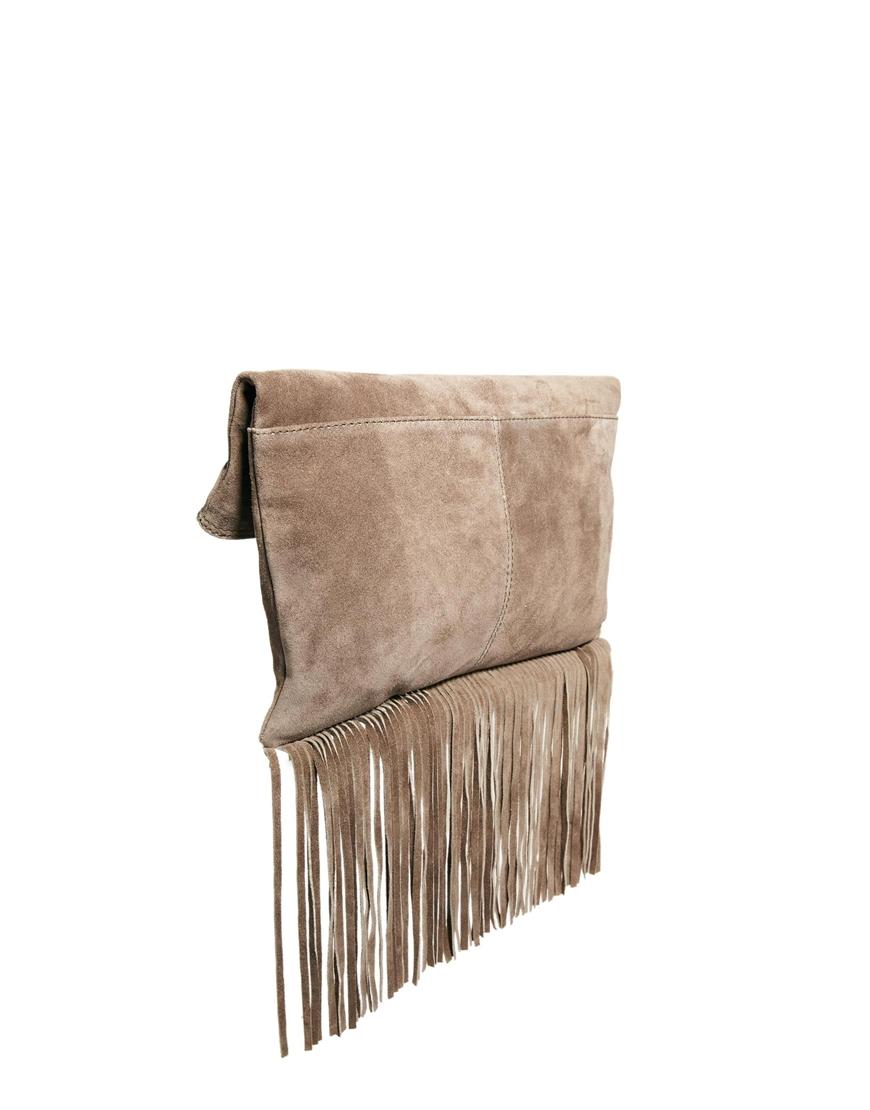Asos Suede Foldover Fringe Clutch Bag in Brown | Lyst