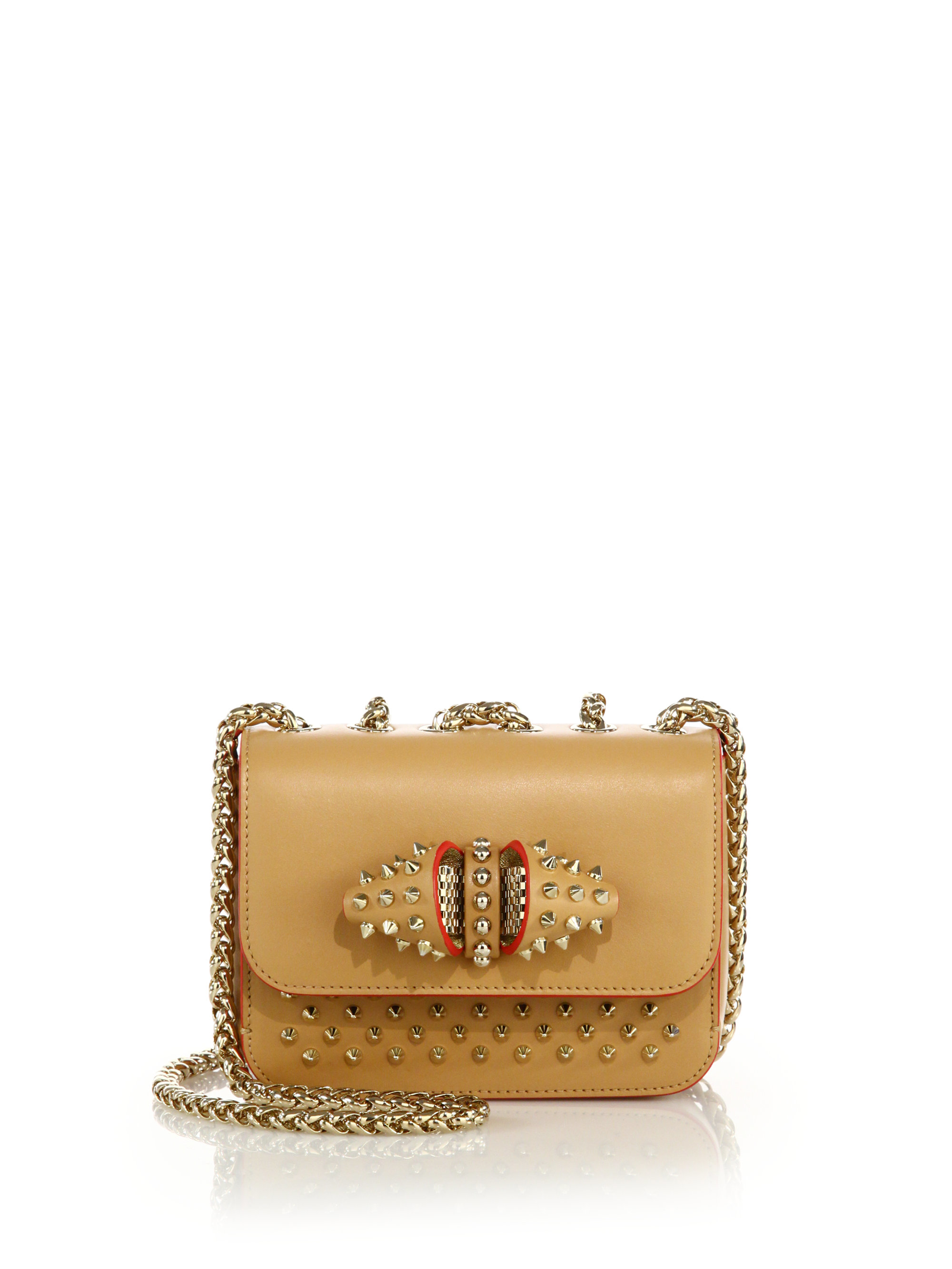 56f4b8cdef0 Christian Louboutin Brown Sweet Charity Baby Studded Leather Crossbody Bag