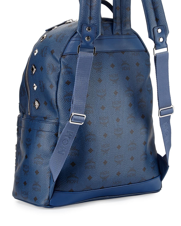 Mcm Stark M Stud Visetos Medium Backpack In Blue Lyst