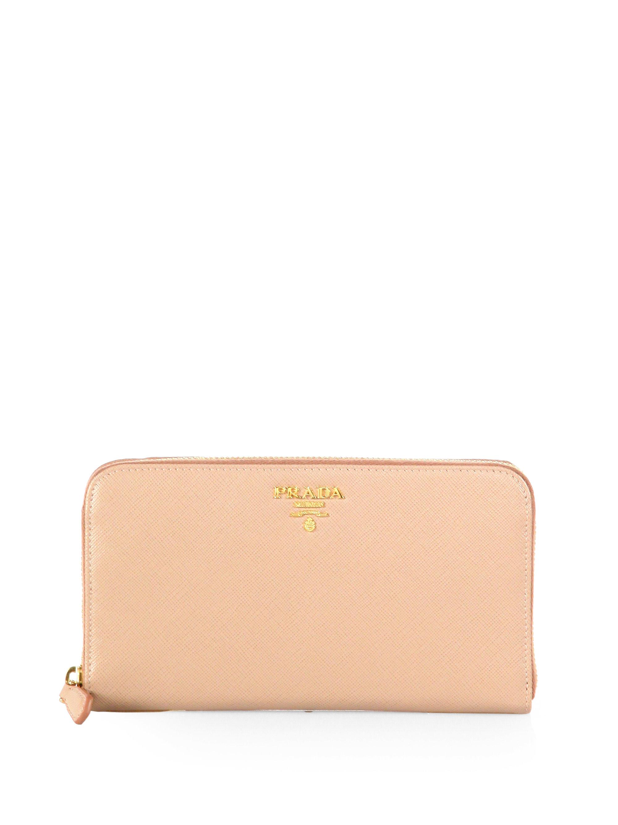 657cda1dea57 ... cheap lyst prada saffiano metal oro continental wallet in pink 18cc3  e0d16