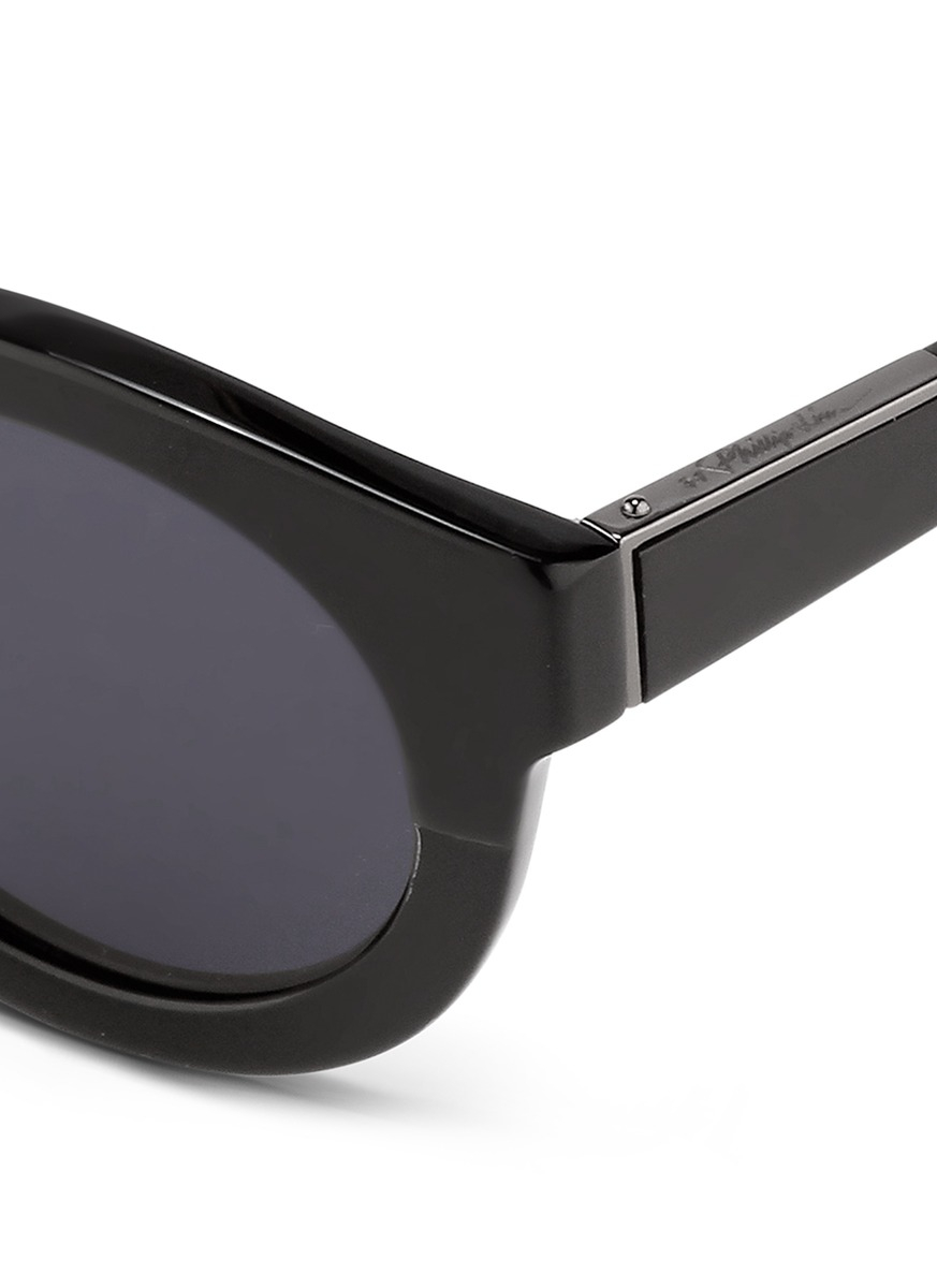 3.1 Phillip Lim X Linda Farrow Chunky Round Keyhole Acetate Sunglasses in Black