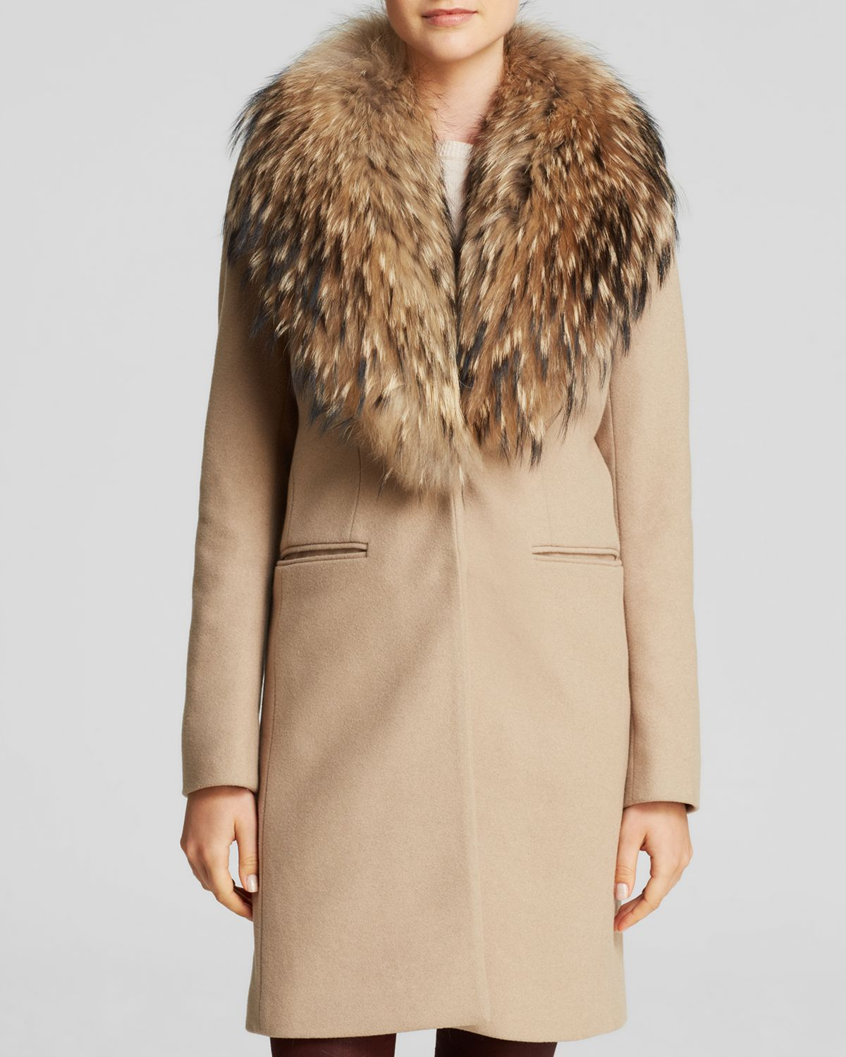 Sam Crosby Wool Coat With Fur Trim In Brown Camel Lyst