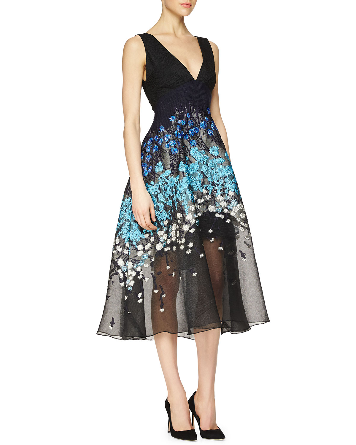 Lela rose floral embroidered fit and flare combo dress in