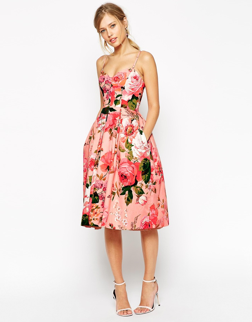 ac18e92d79f1 ASOS Salon Rose Print Bandeau Midi Prom Dress in Pink - Lyst