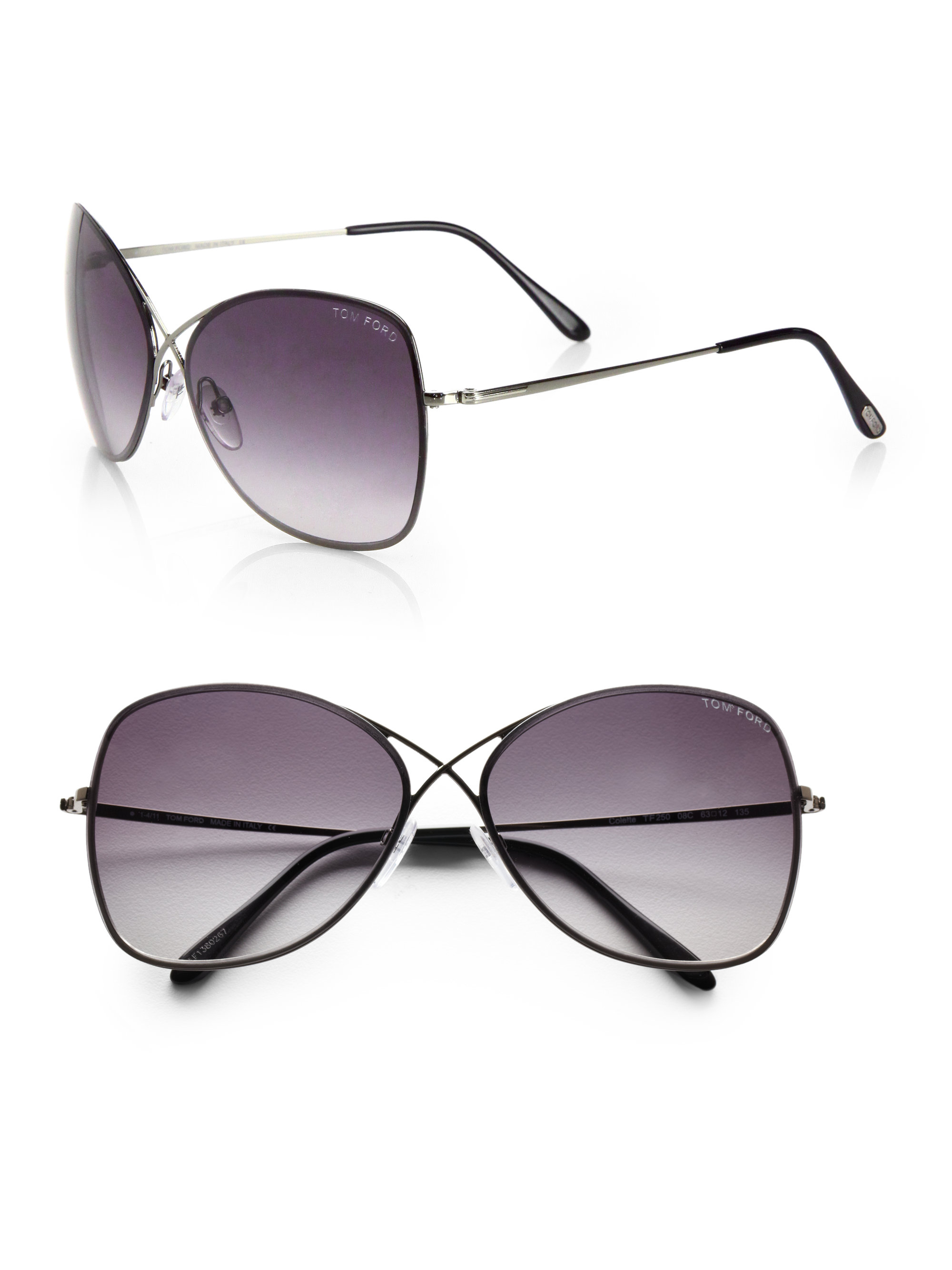 Rimless Aviator Sunglasses : Tom Ford Colette Rimless Oversized Aviator Sunglasses in ...