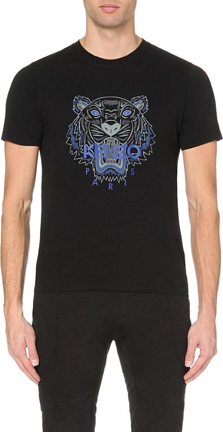 kenzo tiger motif cotton jersey t shirt in black for men. Black Bedroom Furniture Sets. Home Design Ideas