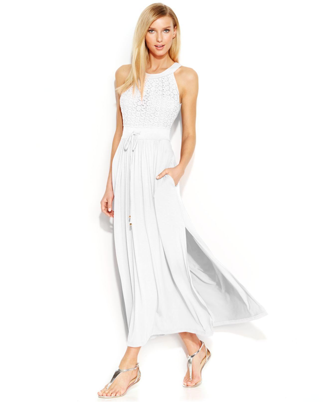 White Side Slit Maxi Dress