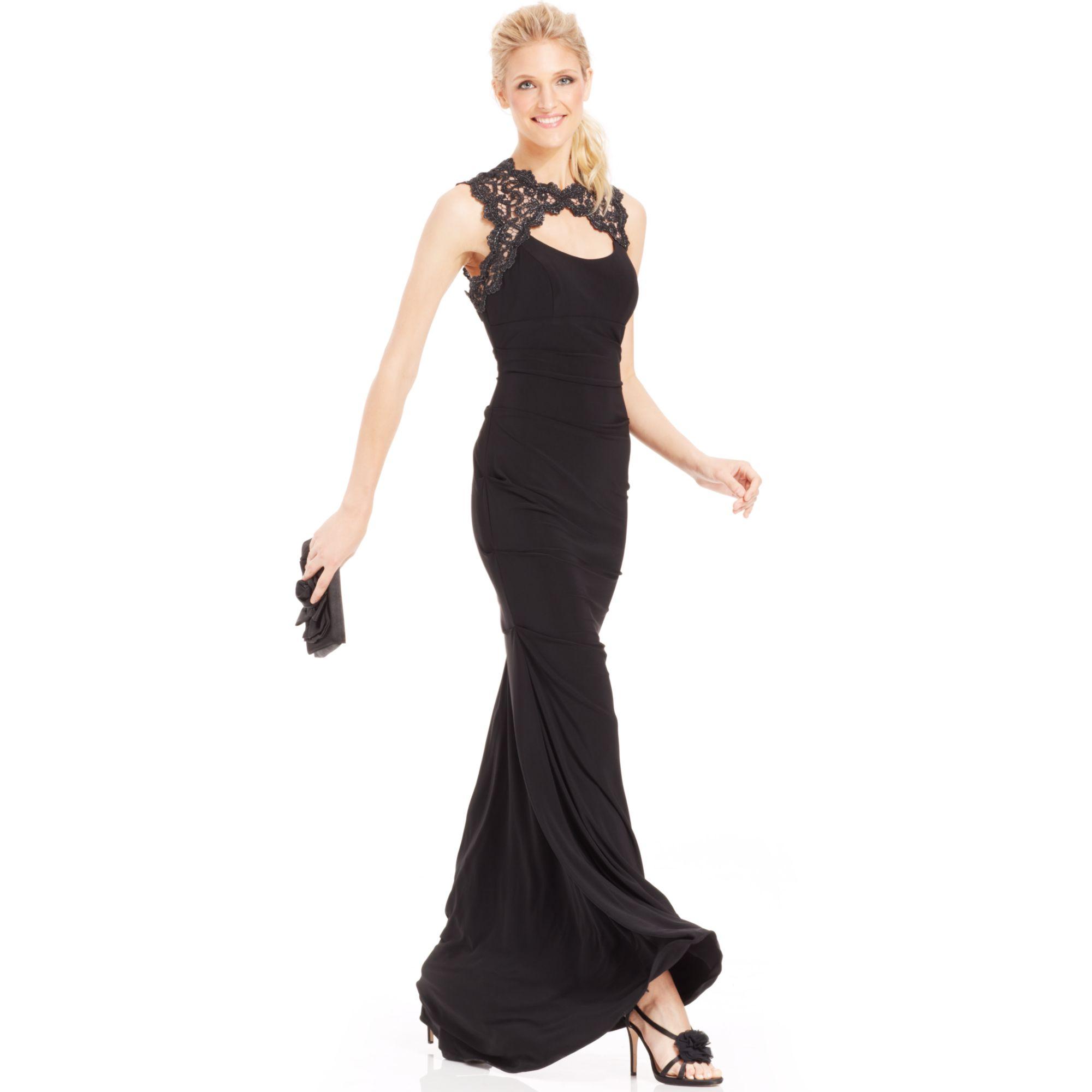 xscape glitter lace cutout mermaid gown in black lyst