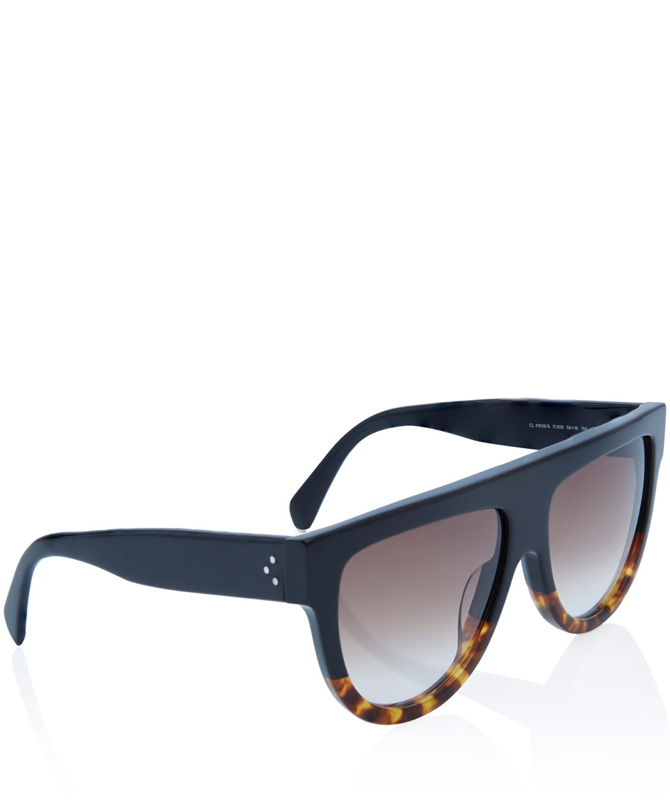 3ce90c95e1 Céline Tortoiseshell and Black Flat Top Acetate Sunglasses in Black ...