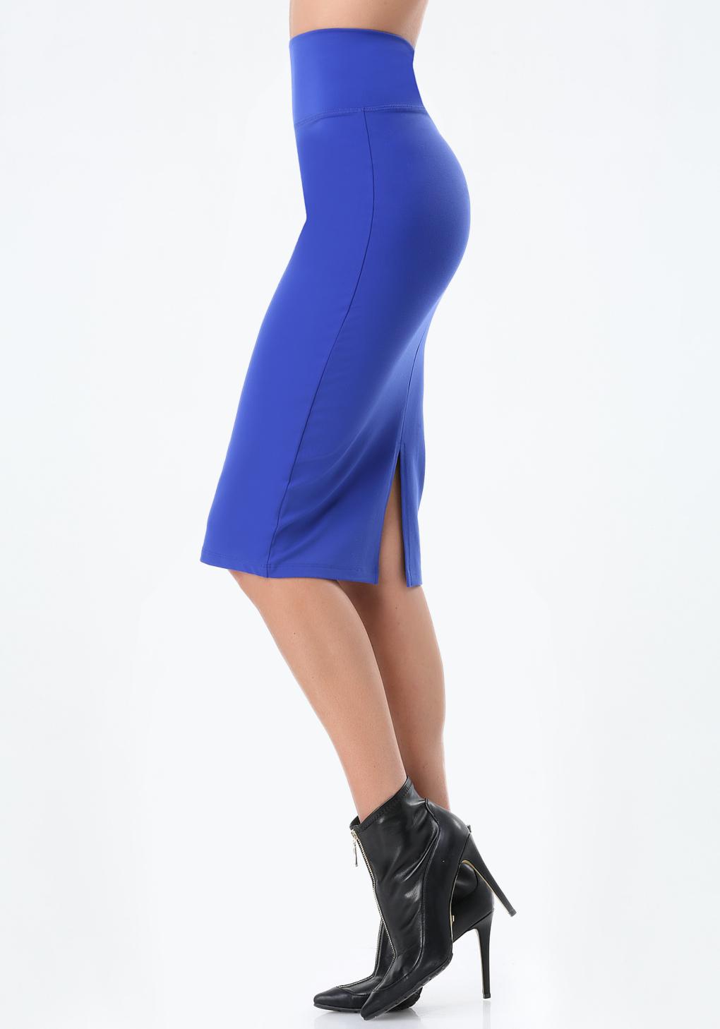 bebe petite knit midi skirt in blue surf the web lyst. Black Bedroom Furniture Sets. Home Design Ideas