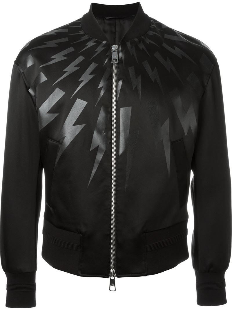 Lighting Jacket: Neil Barrett Lightning Bolt Bomber Jacket In Black For Men