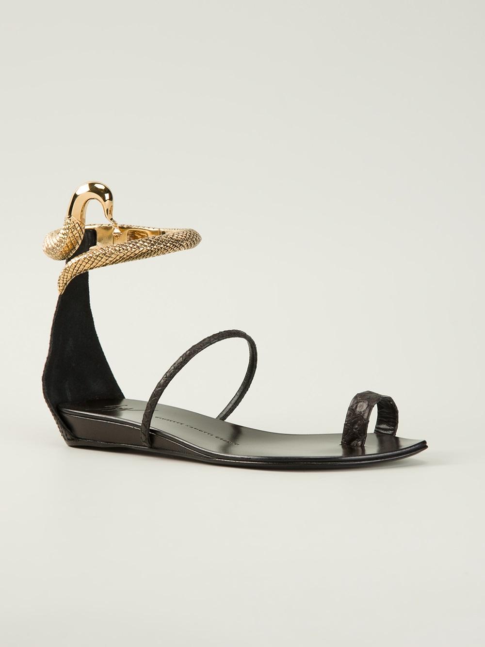 b1aeaf180abe ... greece giuseppe zanotti snake flat sandal in black lyst f1c94 7453d ...