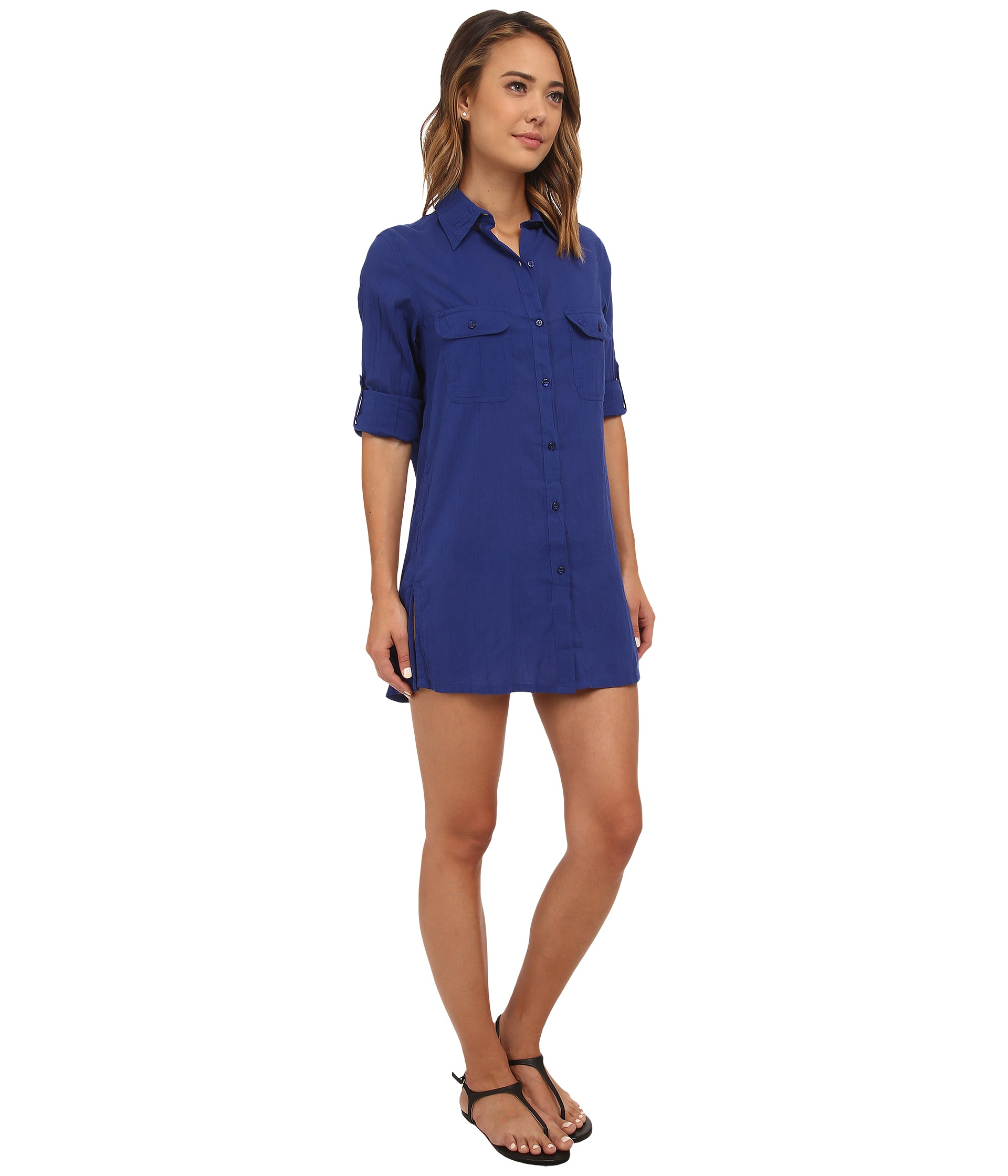 ed8993ef0e6 Lyst - Lauren by Ralph Lauren Crushed Cotton Camp Shirt Cover-up in Blue