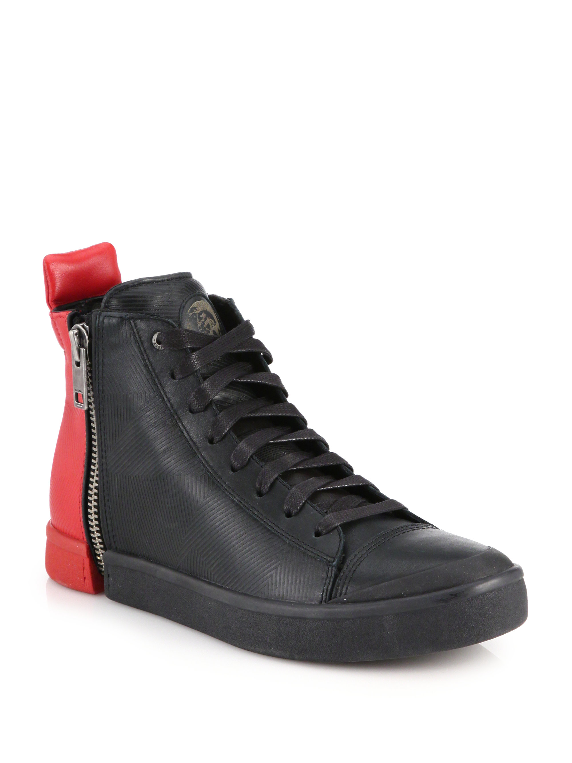 diesel colorblocked zipped leather hightop sneakers in