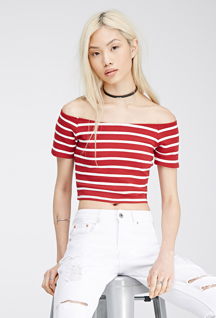 f0045583f6837 Forever 21 Striped Off-the-shoulder Top in Red - Lyst