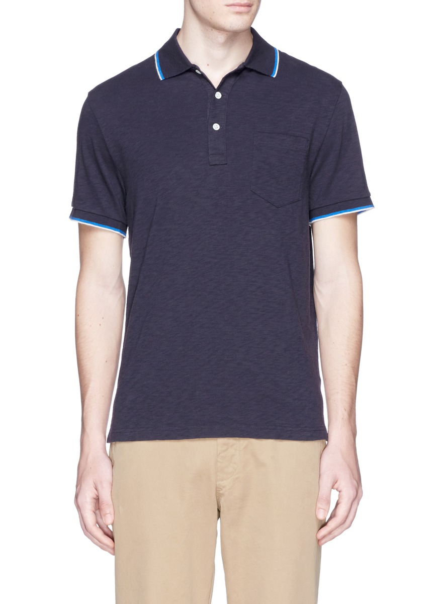 Lyst J Crew Slim Tipped Polo Shirt In Blue For Men