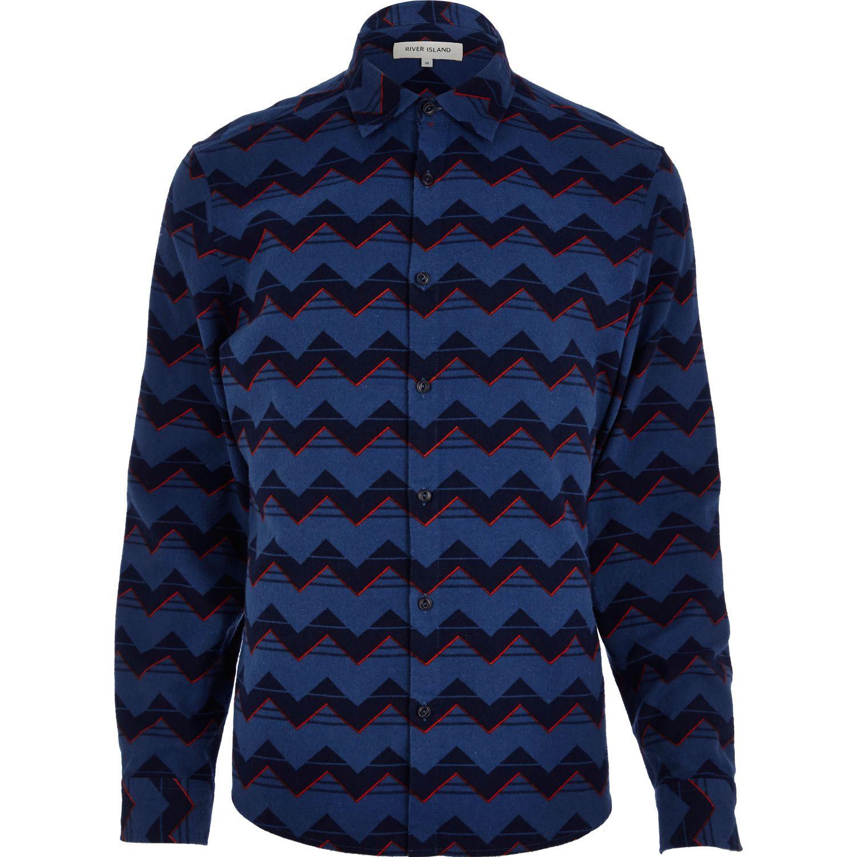 River island navy zig zag print flannel shirt in blue for for Navy blue and red flannel shirt