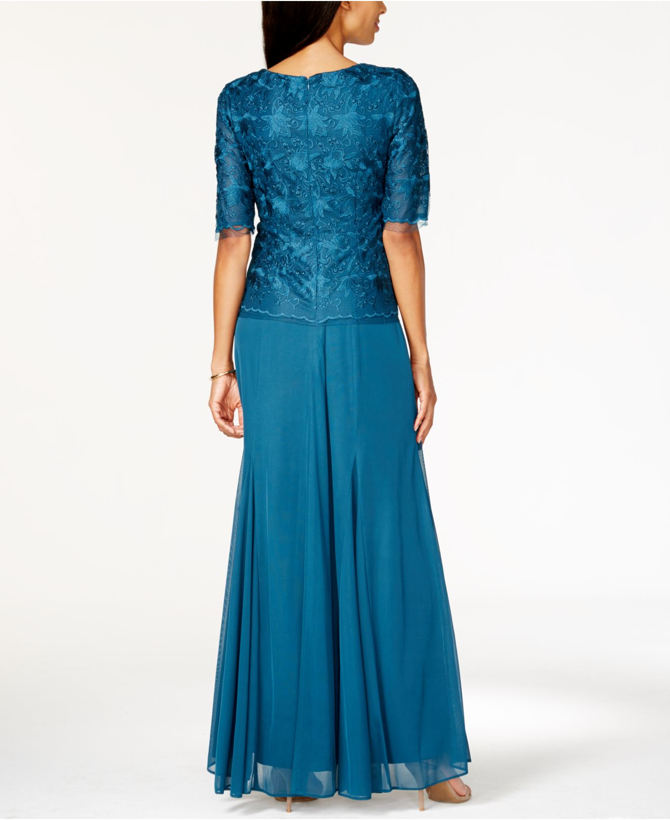 Lyst Alex Evenings Lace Mock Two Piece Gown In Blue
