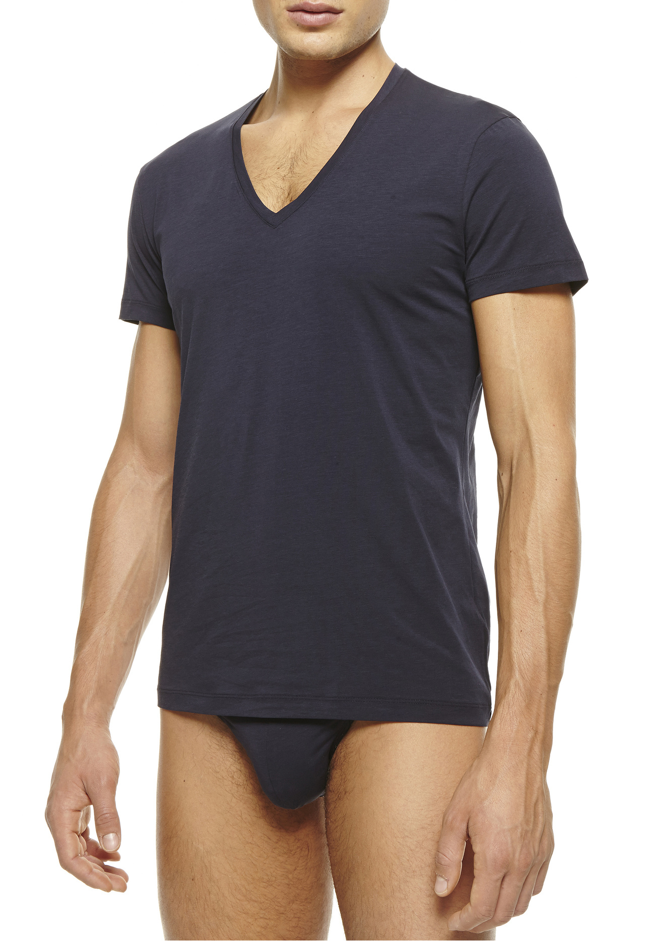 La Perla New V Neck T Shirt In Blue For Men Dark Blue Lyst