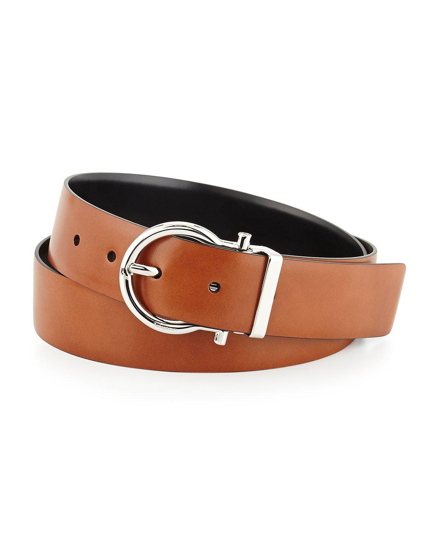 ferragamo reversible gancini leather belt in black for