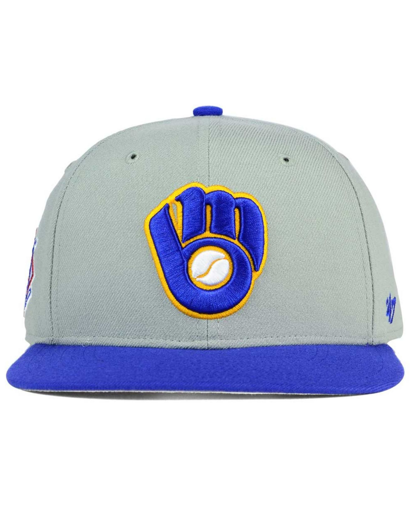 size 40 8acba c037f Lyst - 47 Brand Milwaukee Brewers Sure Shot Snapback Cap in Blue for Men