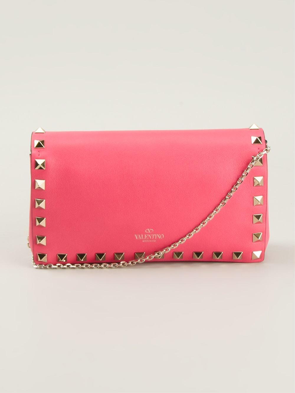 valentino rockstud cross bag in pink lyst
