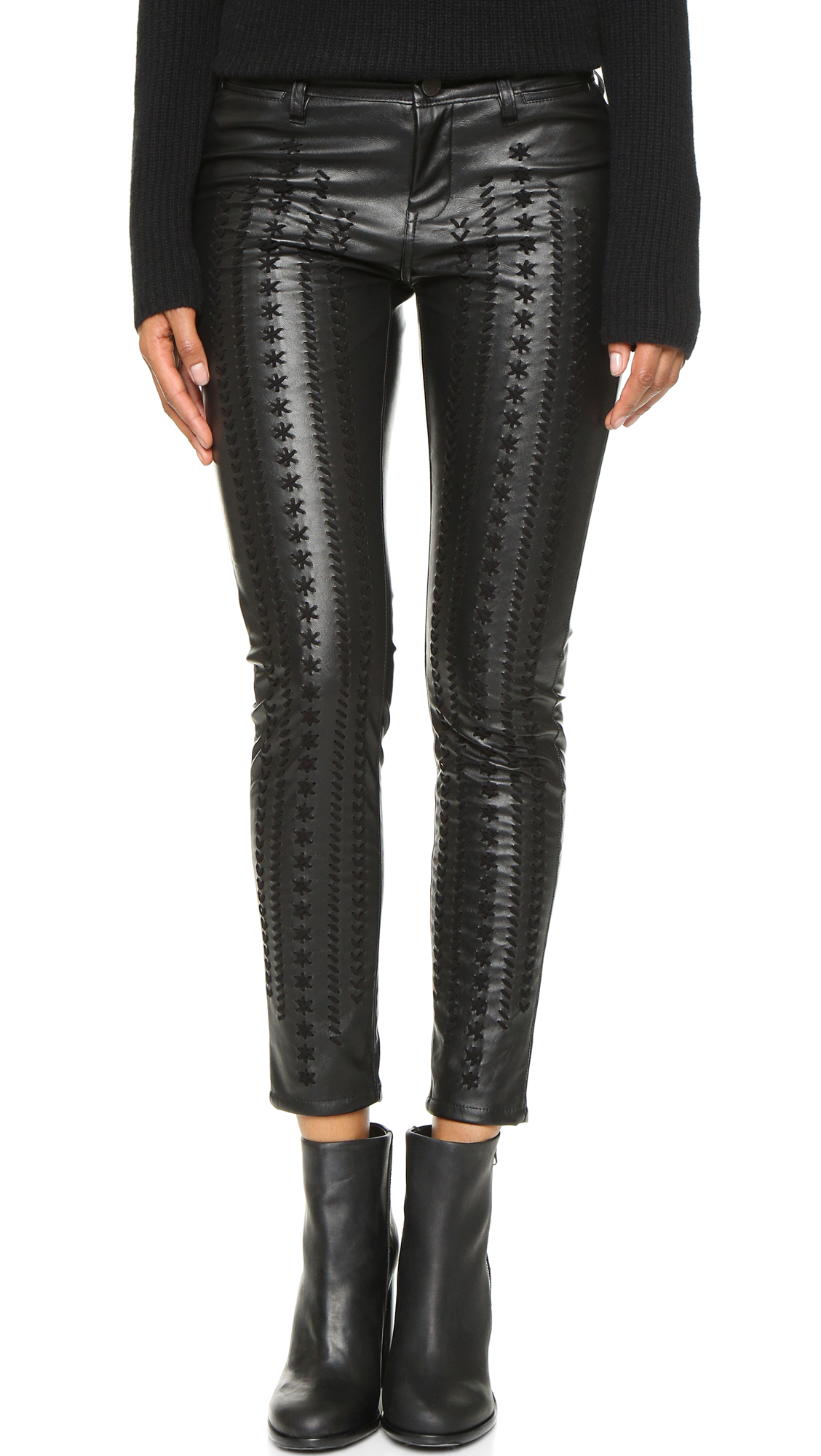 Blank nyc Vegan Leather Embroidered Skinny Pants in Black | Lyst