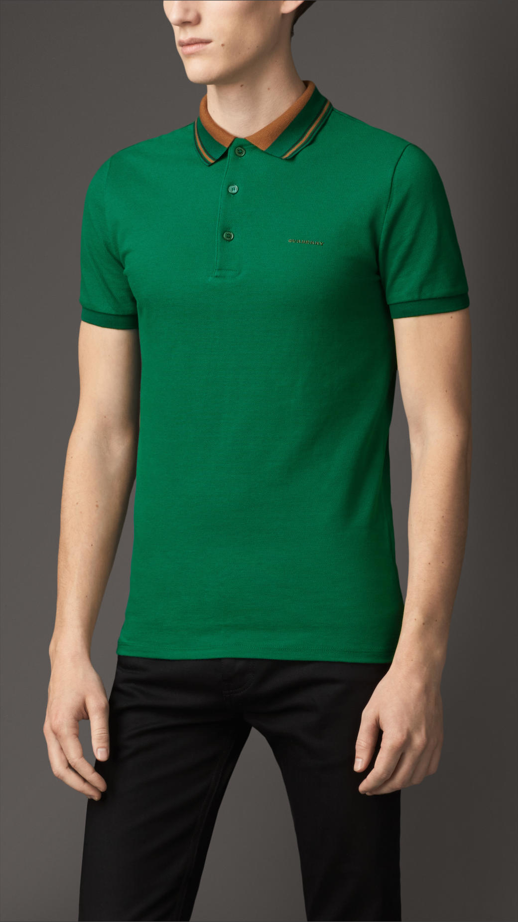 Burberry striped collar cotton polo shirt in green for men for Forest green polo shirts