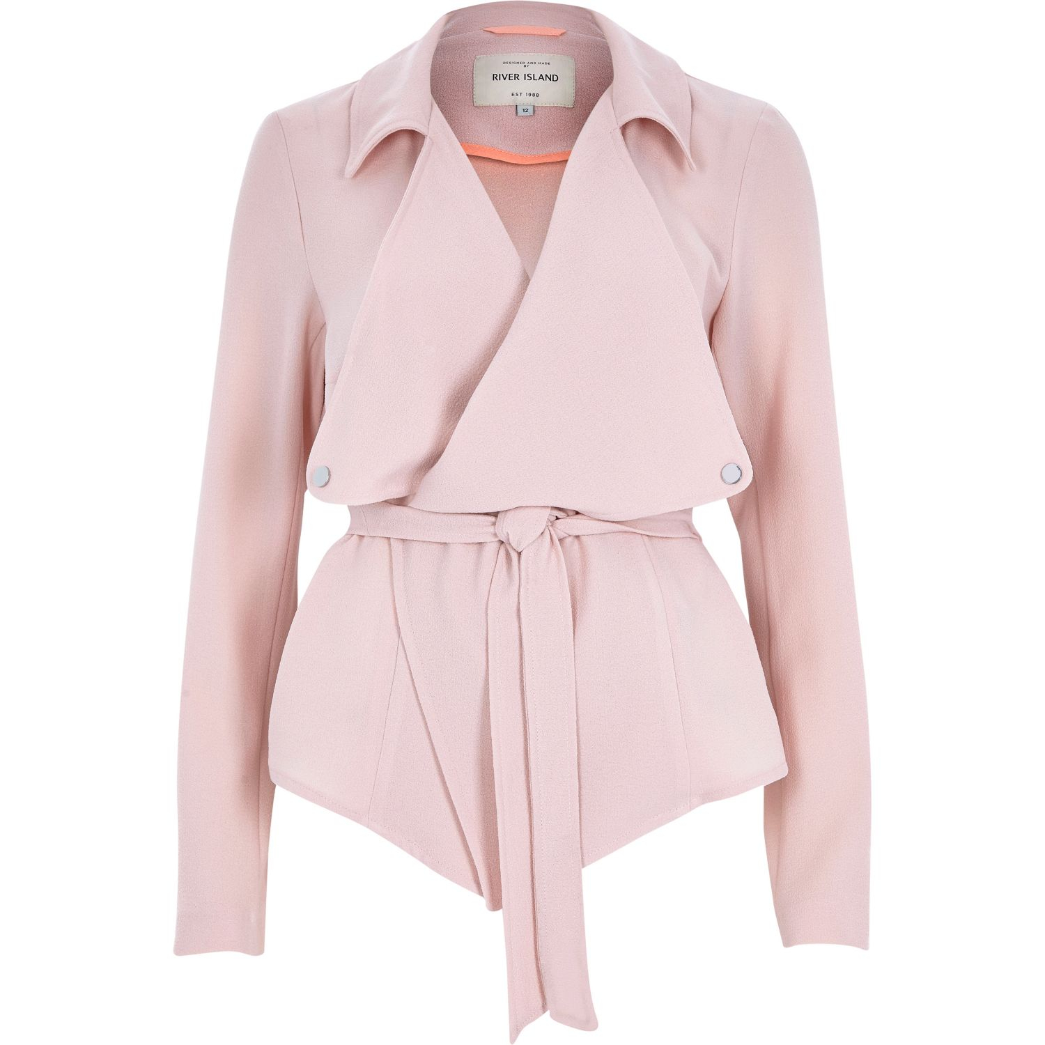 River Island Light Pink Cropped Drape Trench Coat in Pink ...