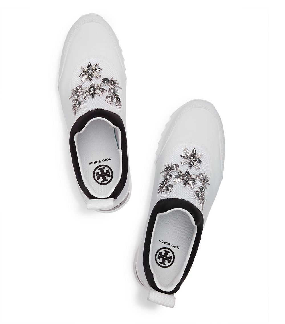 413bb46c13332d Tory Burch Rosas Embellished Sawtooth Slip-on Sneaker in White - Lyst