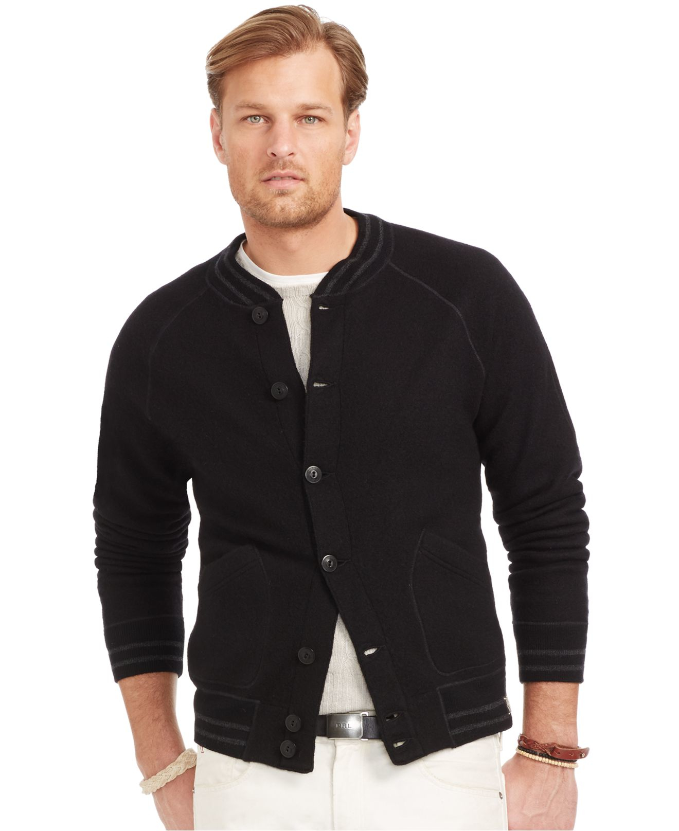 Polo ralph lauren Big And Tall Wool Baseball Jacket in Black for ...
